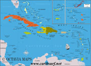 Uge map of the Caribbean Islands