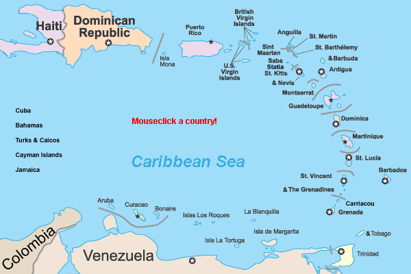 Caribbean country map